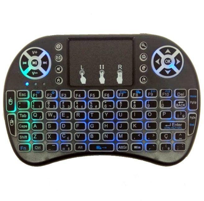 Mini Controle e Teclado Sem fio Keyboard para Smart Tv com Led RGB