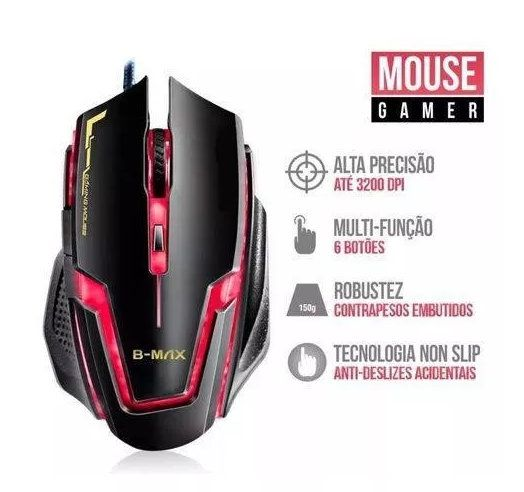 Mouse Gamer Profissional A9 Gaming 3200 Dpi B-Max
