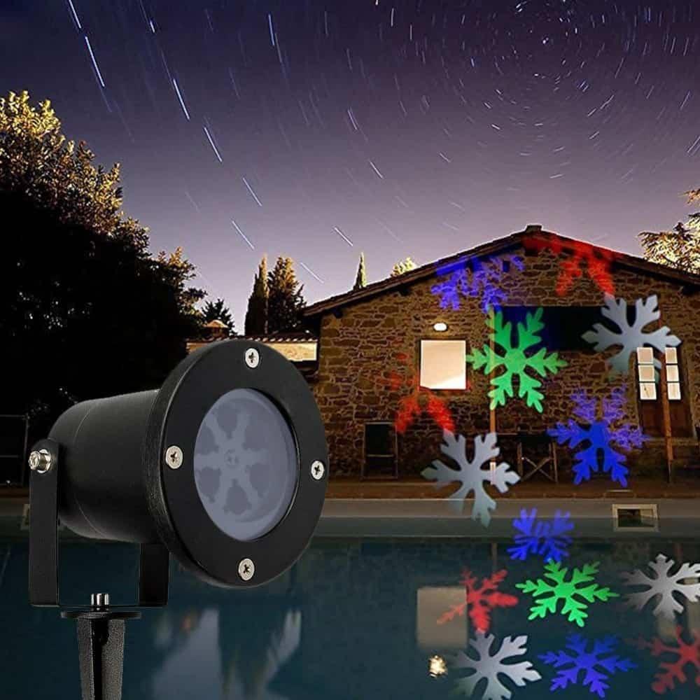 Projetor Leaser de Jardim Natalina Flocos de Neve e Papai Noel