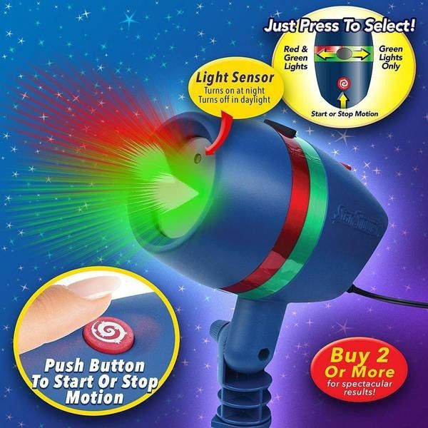 Projetor Laser Espeto de LED Bivolt para Jardim Star Shower Light IP65
