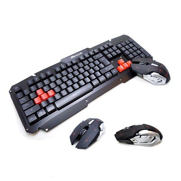 Teclado para Pc Sem fio e Mouse Gamer Verde JP-T1000