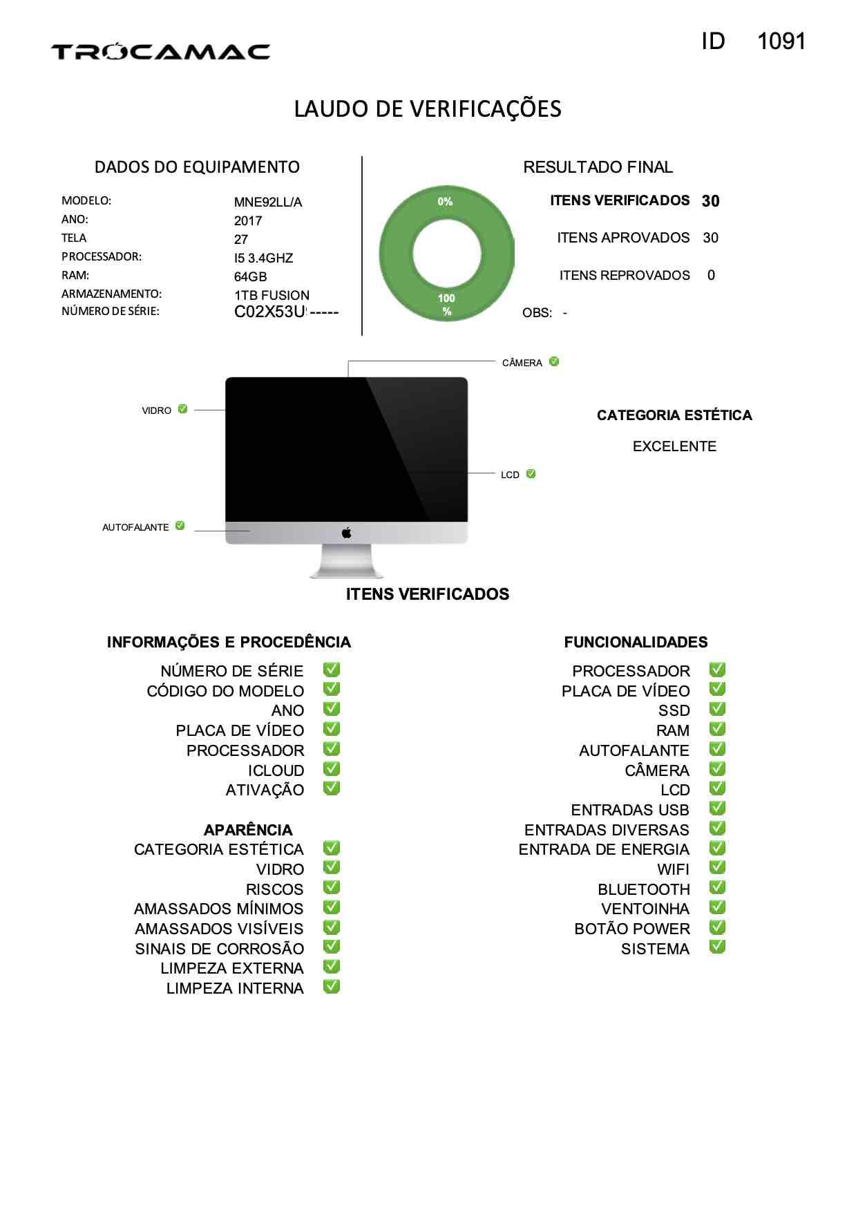 Imac 27 5K I5 3.4ghz 64gb 1tb Fusion Mne92ll/a Seminovo