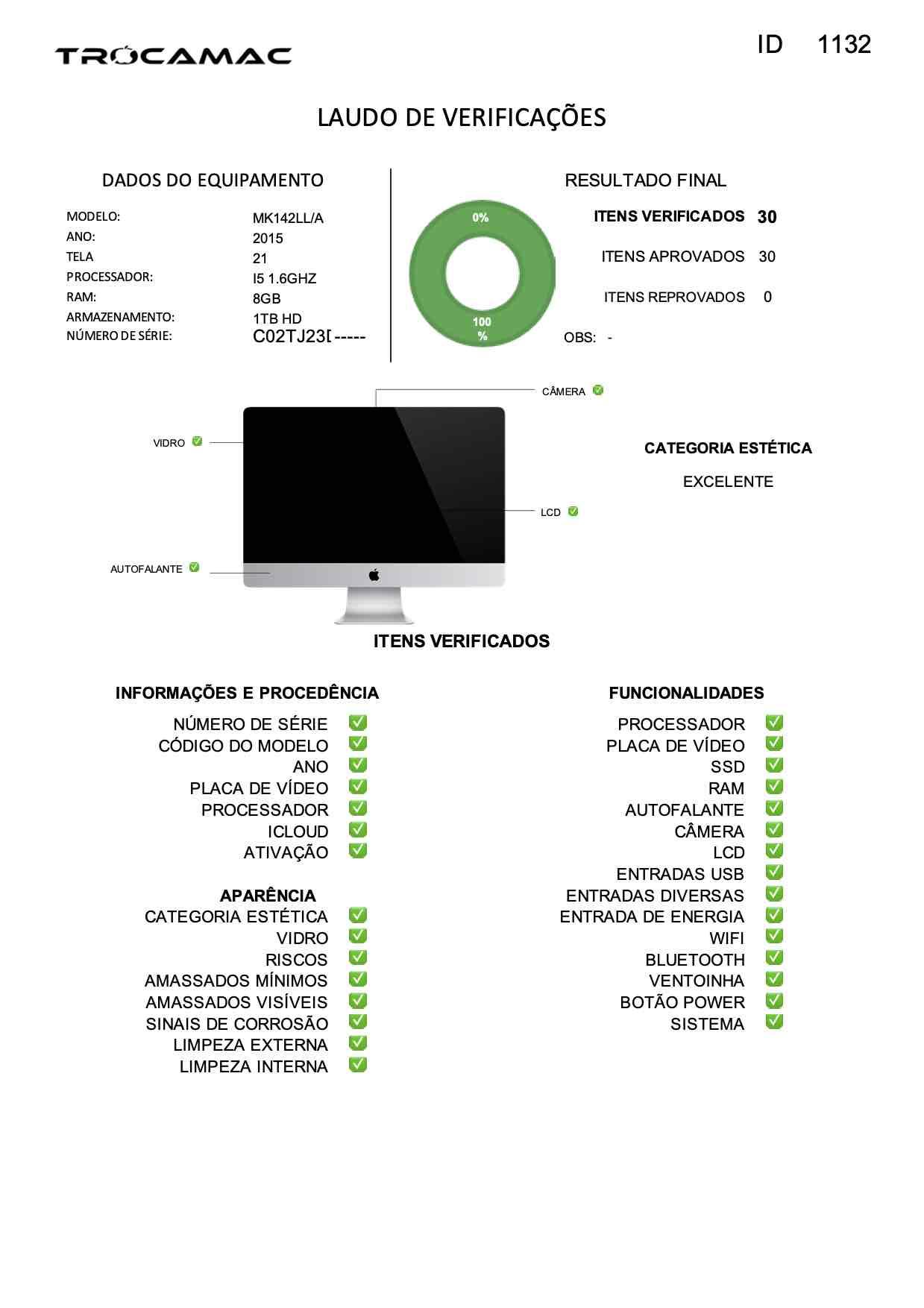 Imac 21 I5 1.6ghz 8gb 1TB HD Mk142ll/a Seminovo