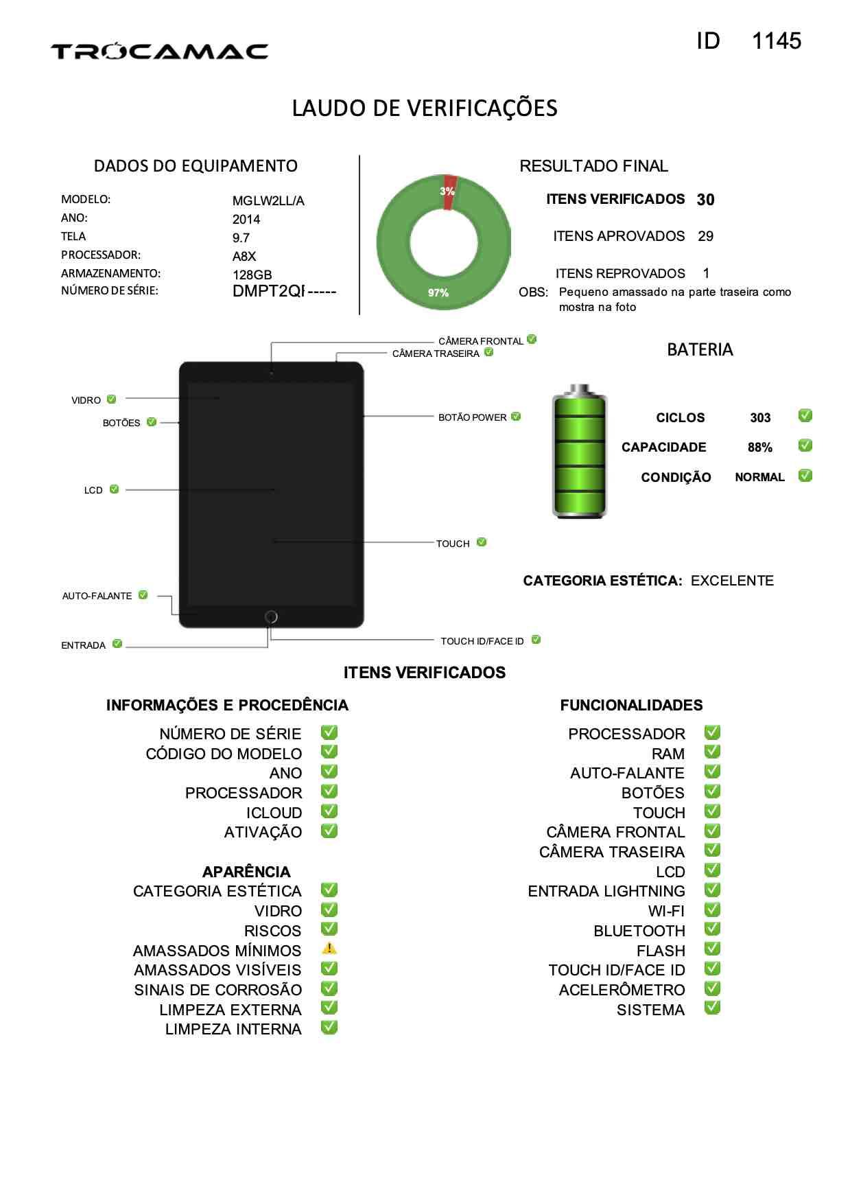 "iPad Air 9.7"" 2a geração Space Gray 128GB Gold MGLW2LL/A Seminovo"