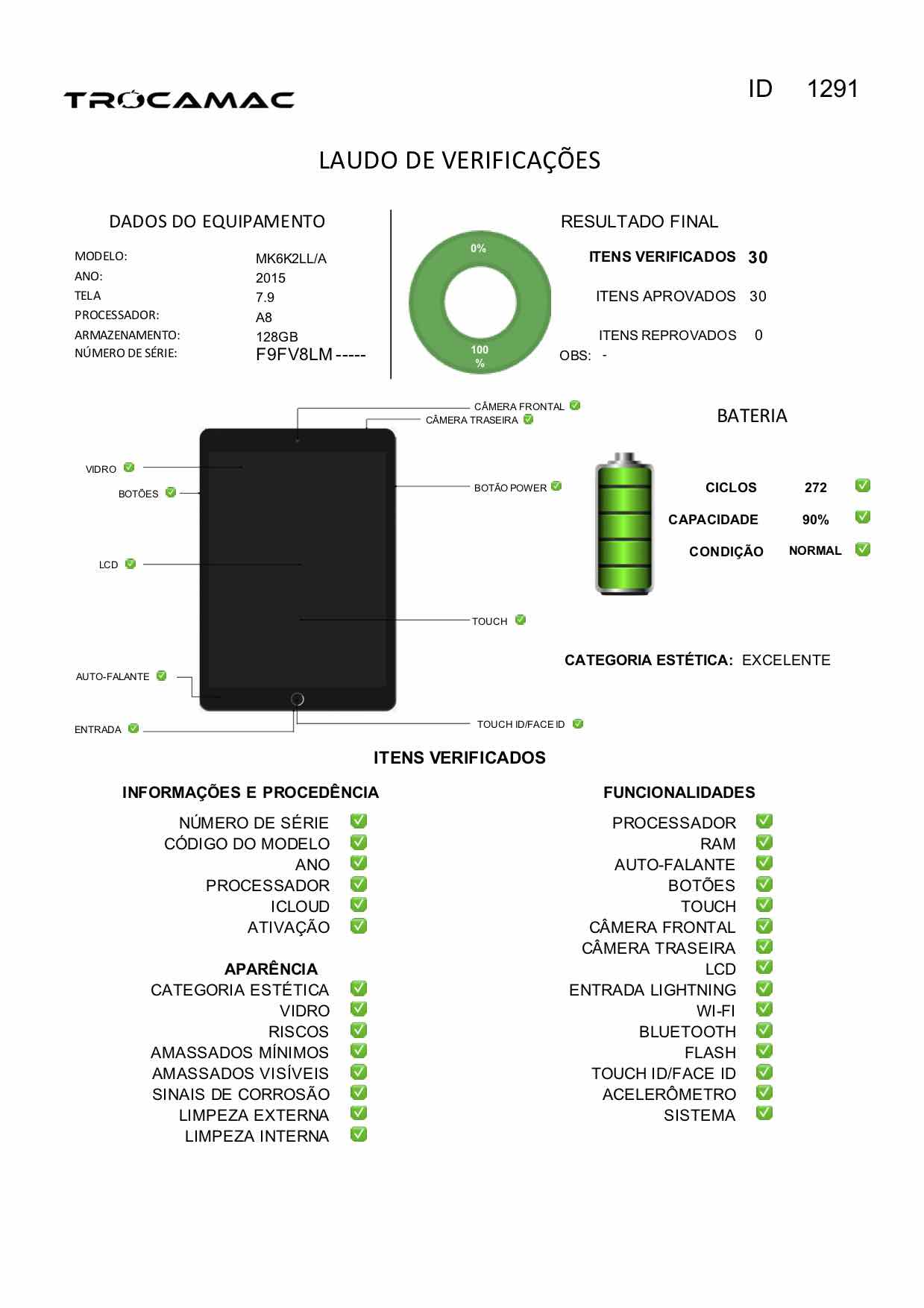 "iPad Mini 7.9"" 4a geração Space Gray 128GB MK6K2LL/A Seminovo"