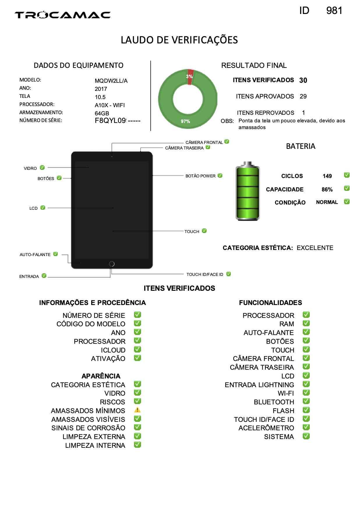 "iPad Pro 10.5"" Space Gray 64GB MQDW2LL/A Seminovo"