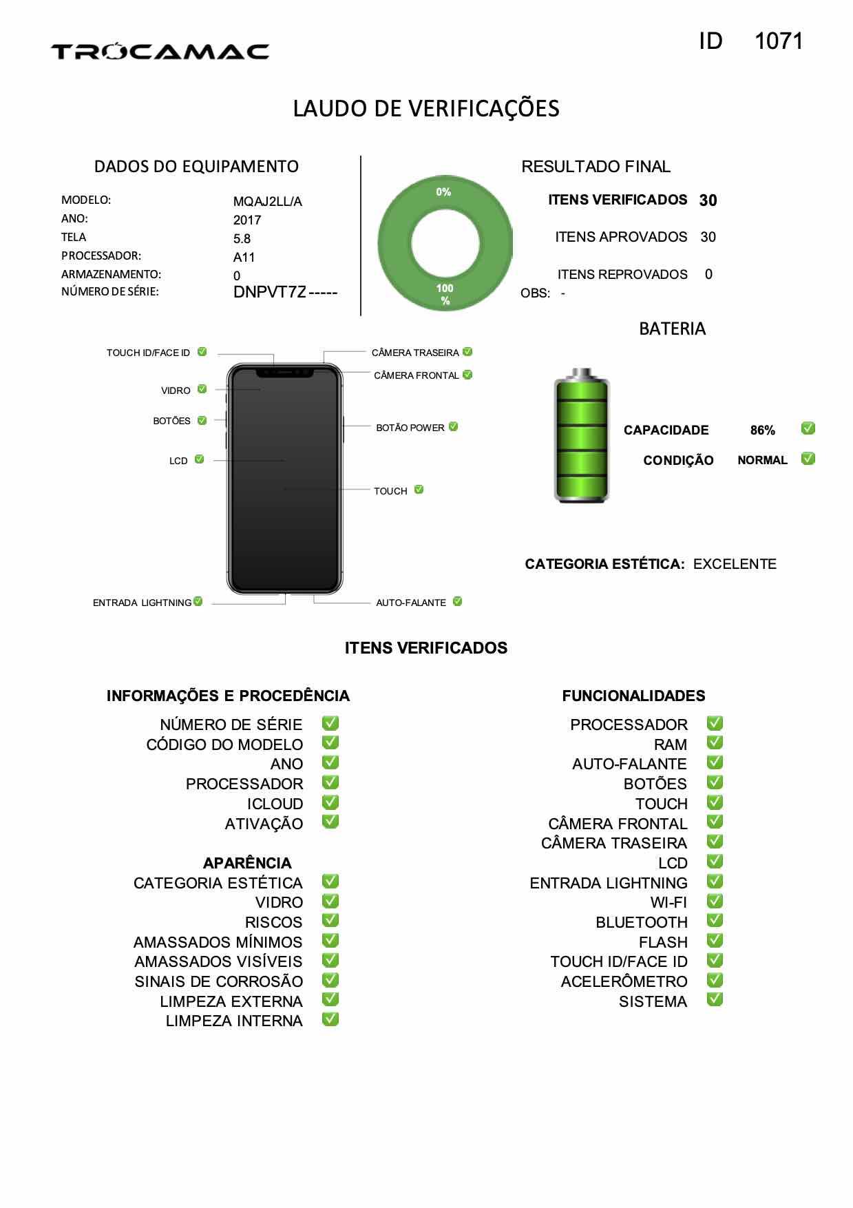 iPhone X 64GB Preto MQAJ2LL/A Seminovo