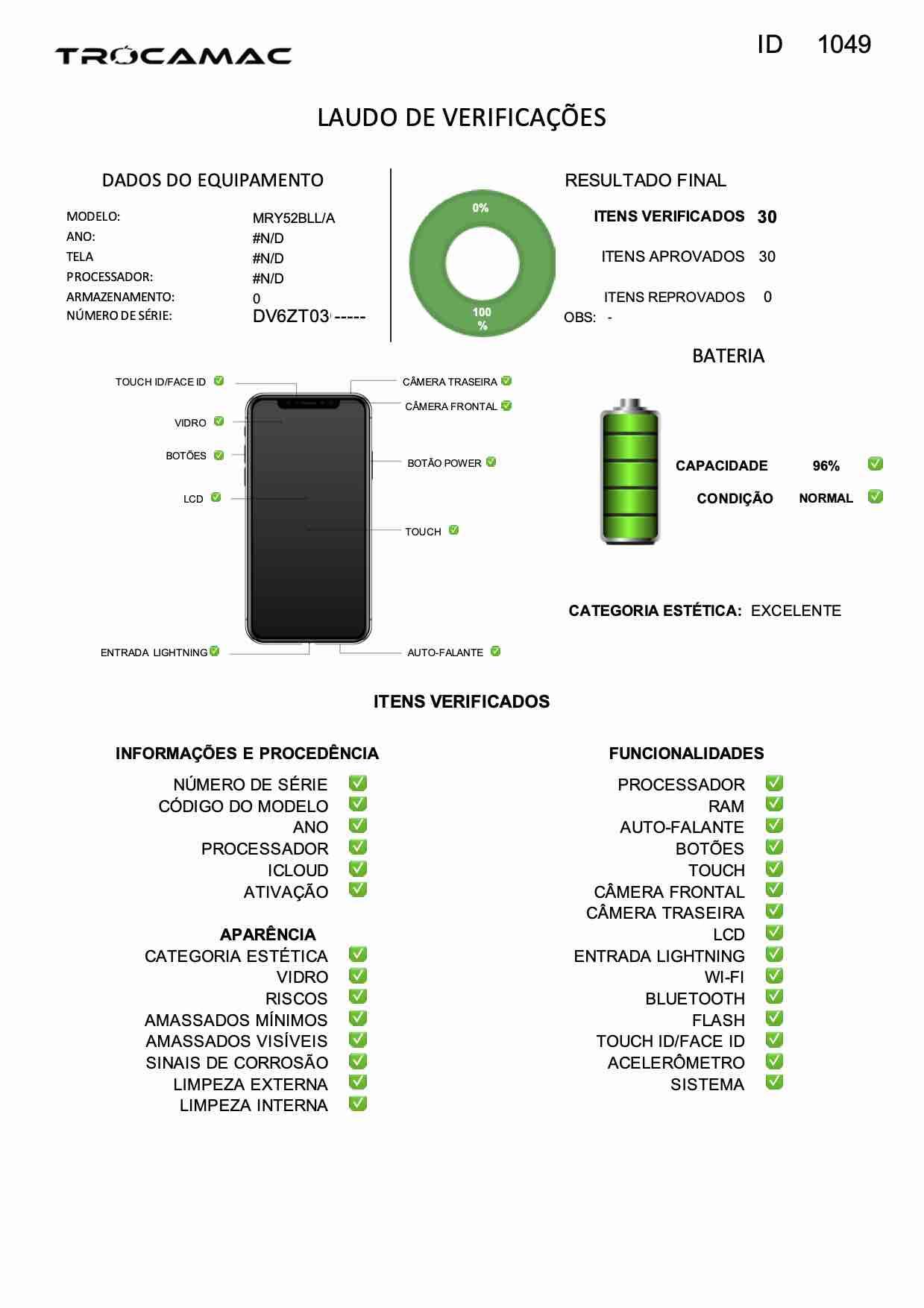 iPhone XR 64GB Azul MRY52B/A Seminovo
