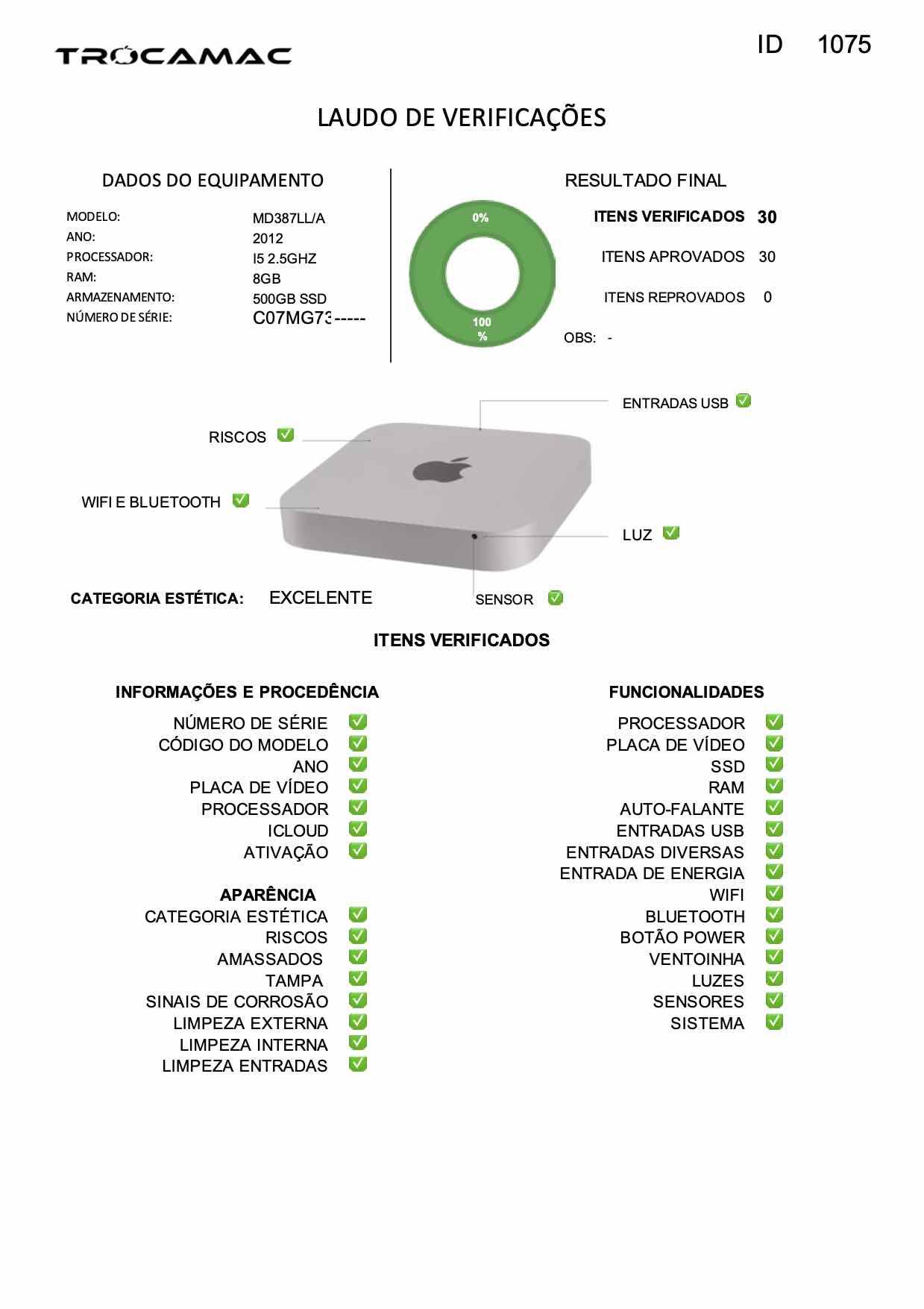 Mac Mini i5 2.5Ghz 8GB 512GB SSD MD387LL/A Seminovo