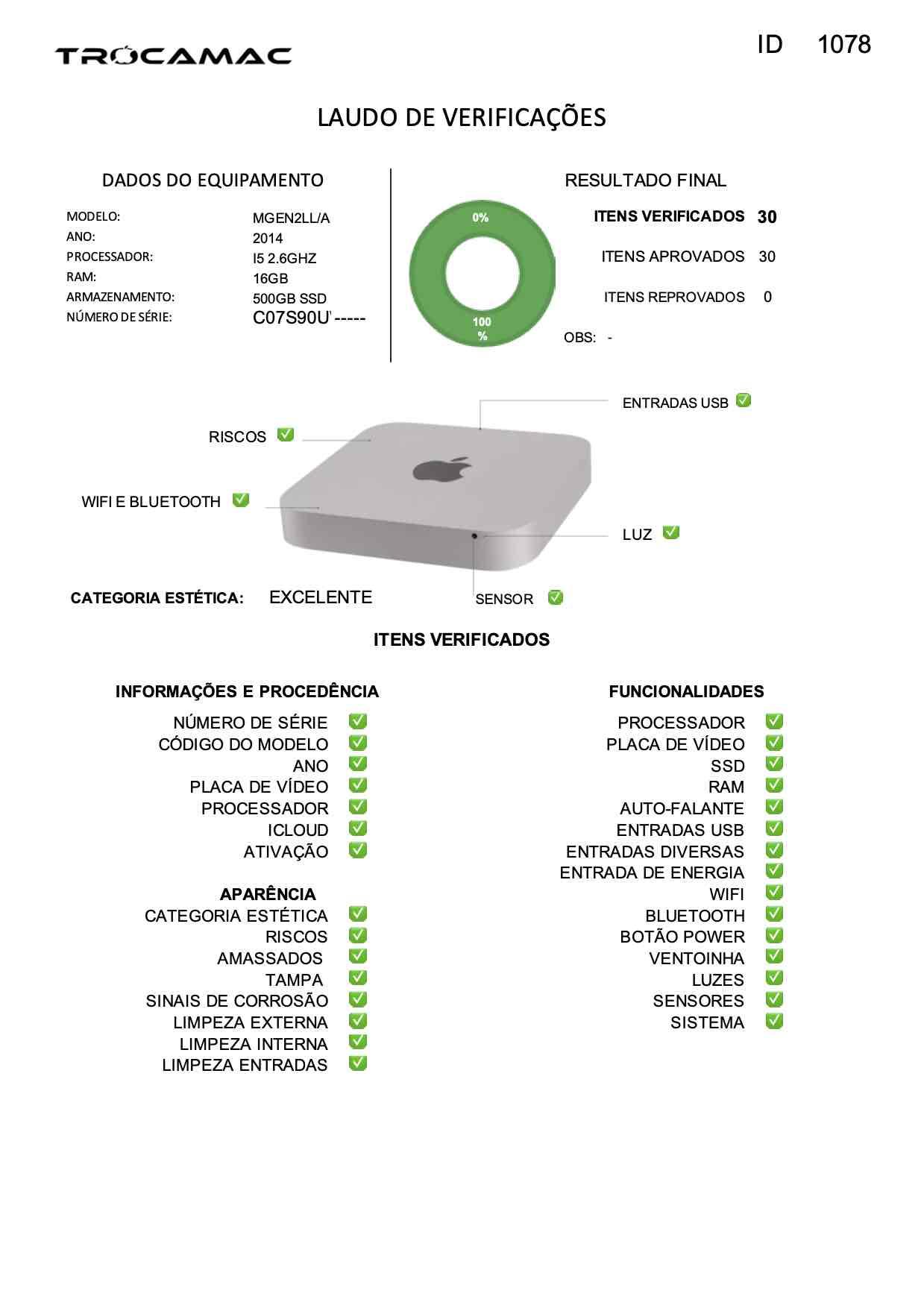 Mac Mini i5 2.6Ghz 16GB 512GB SSD MGEN2LL/A Seminovo