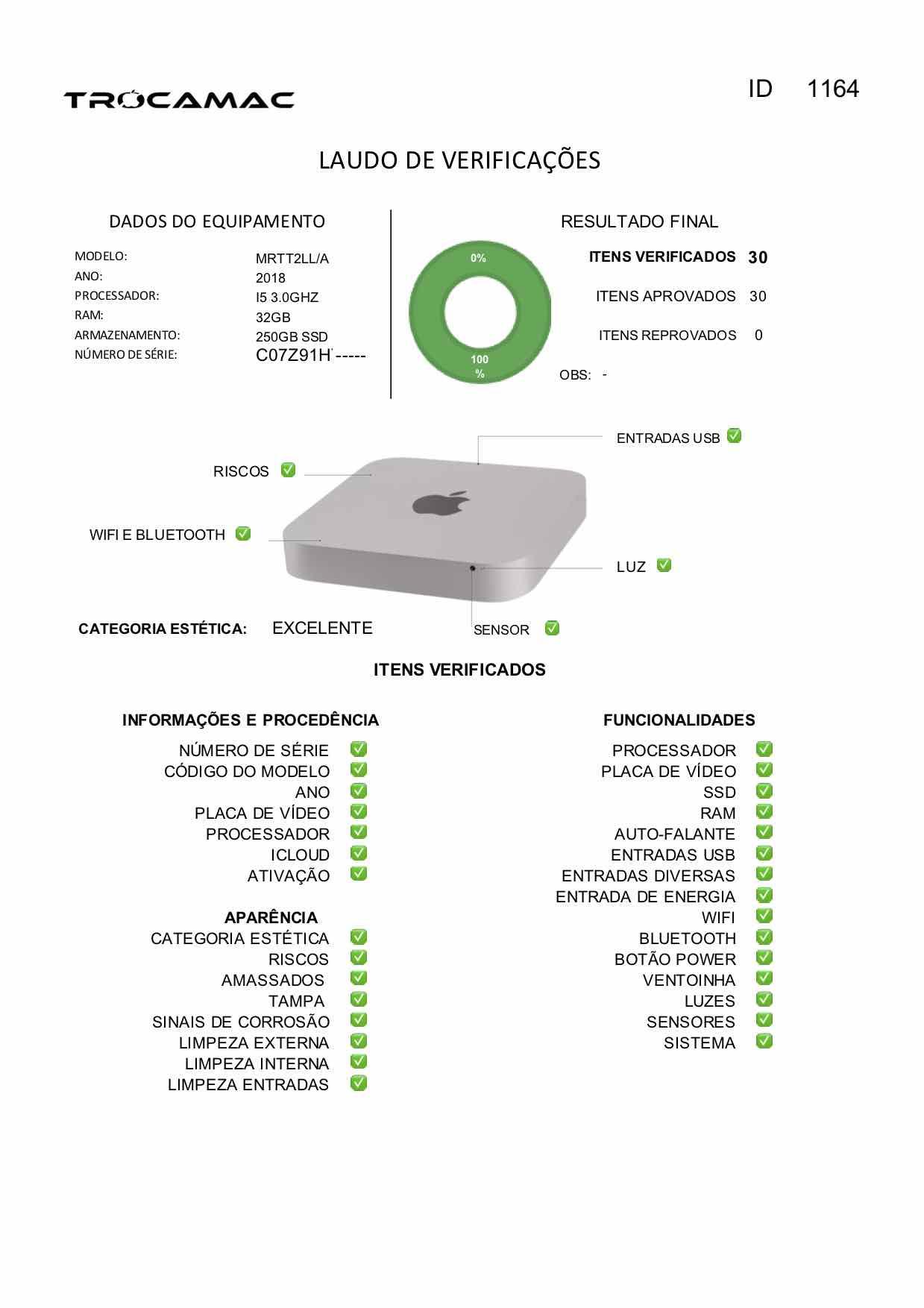 Mac Mini i5 3.0GHz 32GB 256GB SSD MRTT2LL/A Seminovo