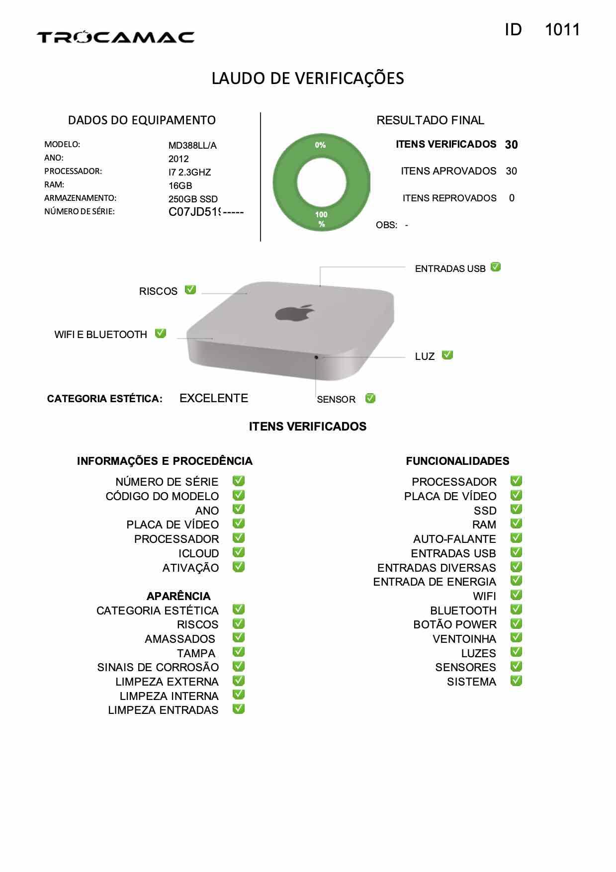 Mac Mini i7 2.3Ghz 16GB 256GB SSD MD388LL/A Seminovo