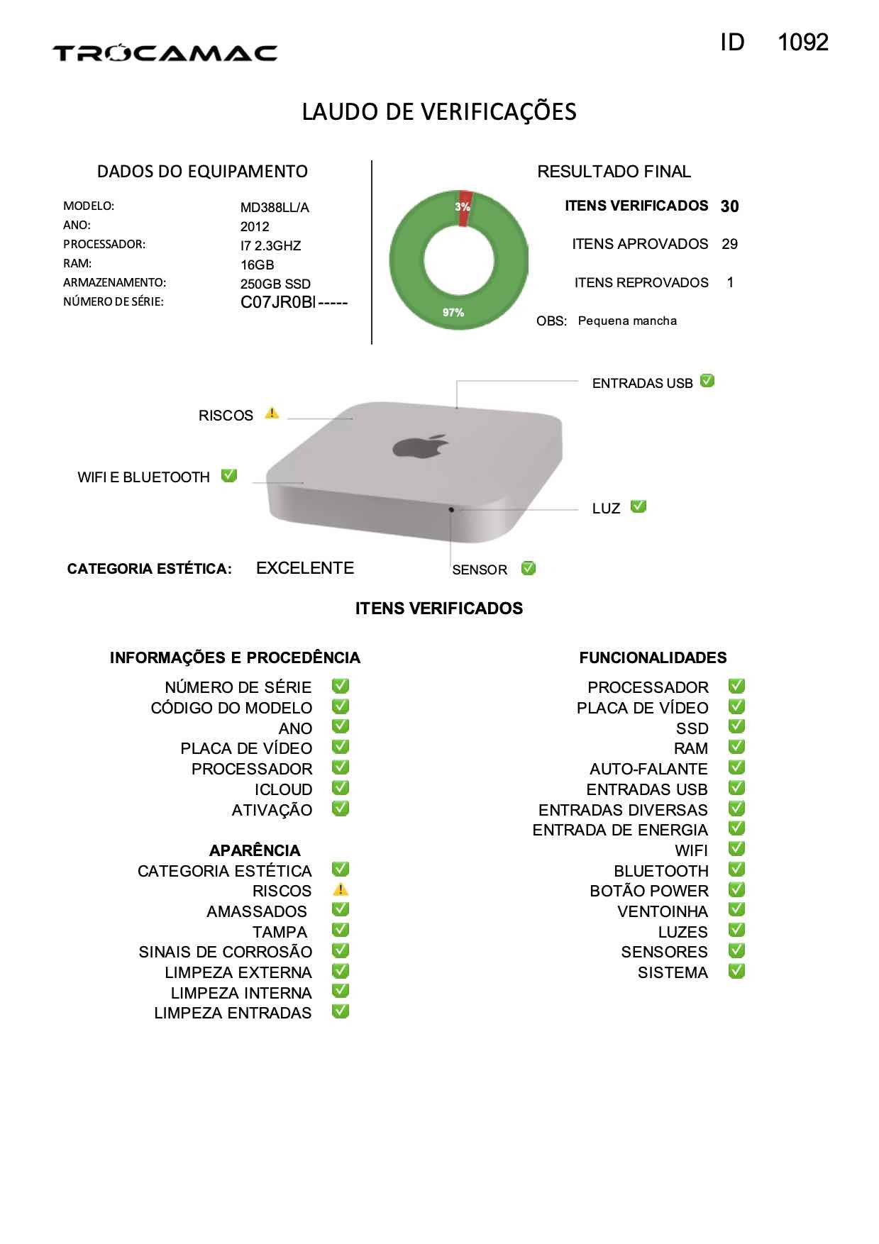 Mac Mini i7 2.3Ghz 8GB 256GB SSD MD388LL/A Seminovo