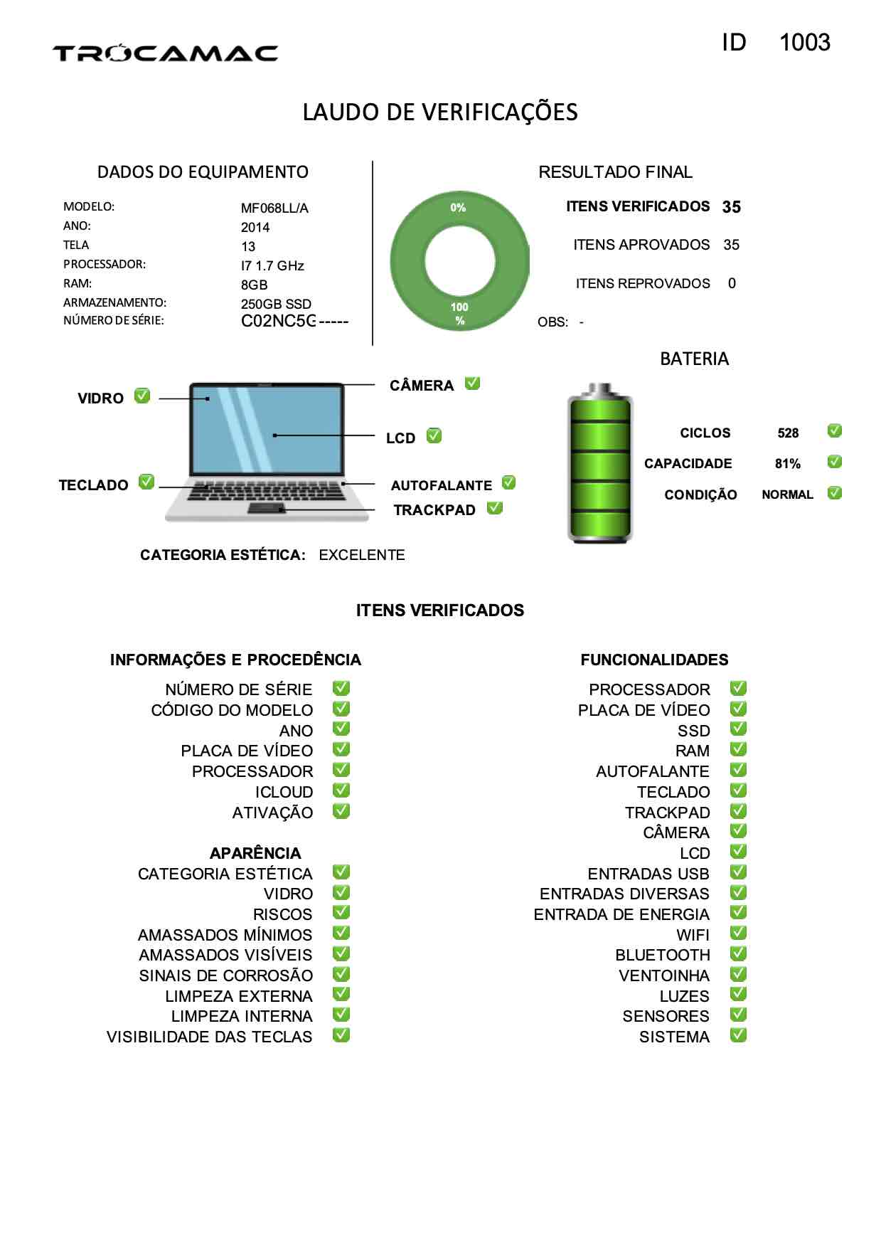 Macbook Air 13 i7 1.7Ghz 8GB 256GB SSD MF068LL/A Seminovo