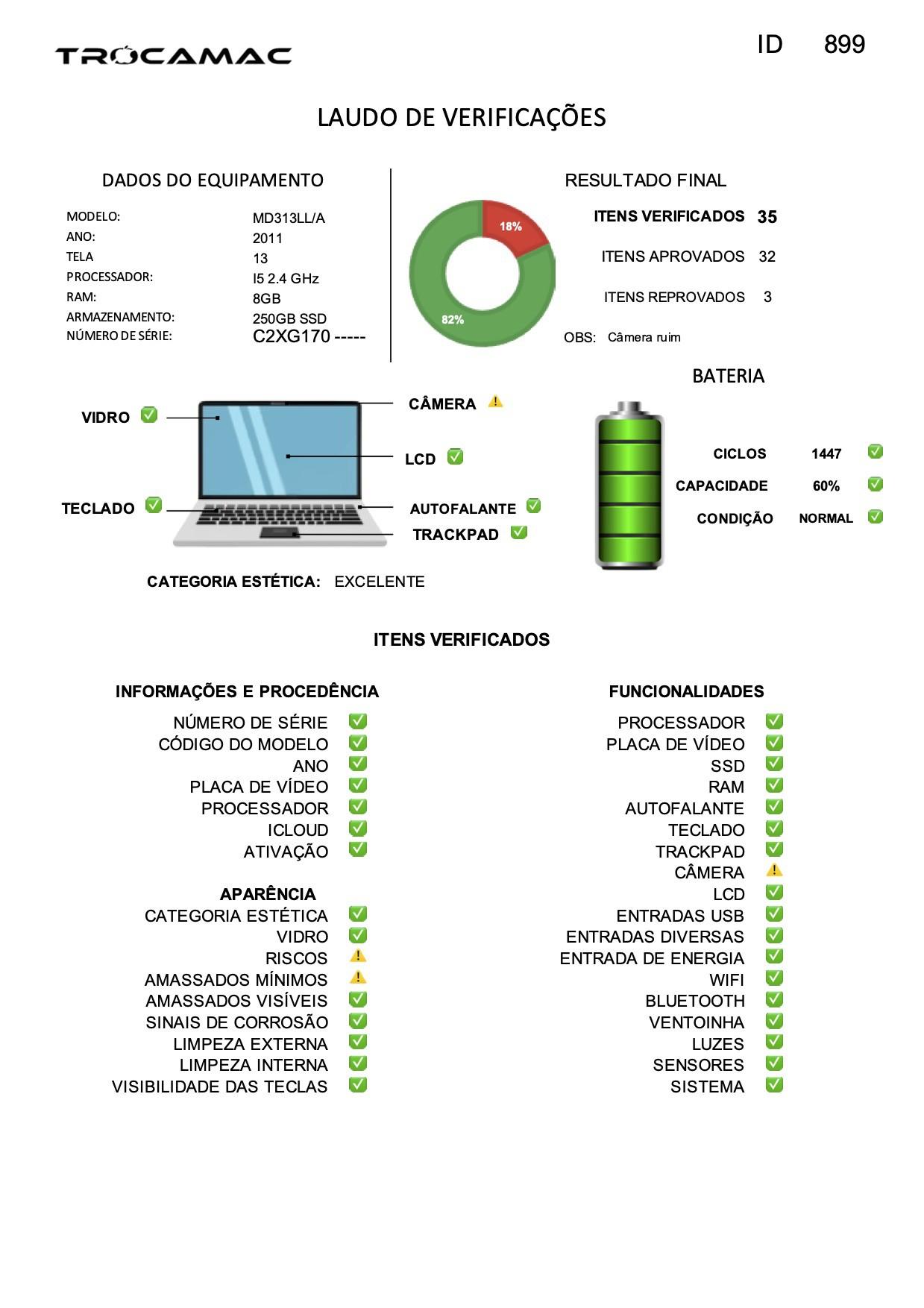 Macbook Pro 13 I5 2.4ghz 8gb 256gb Ssd Md313 Seminovo
