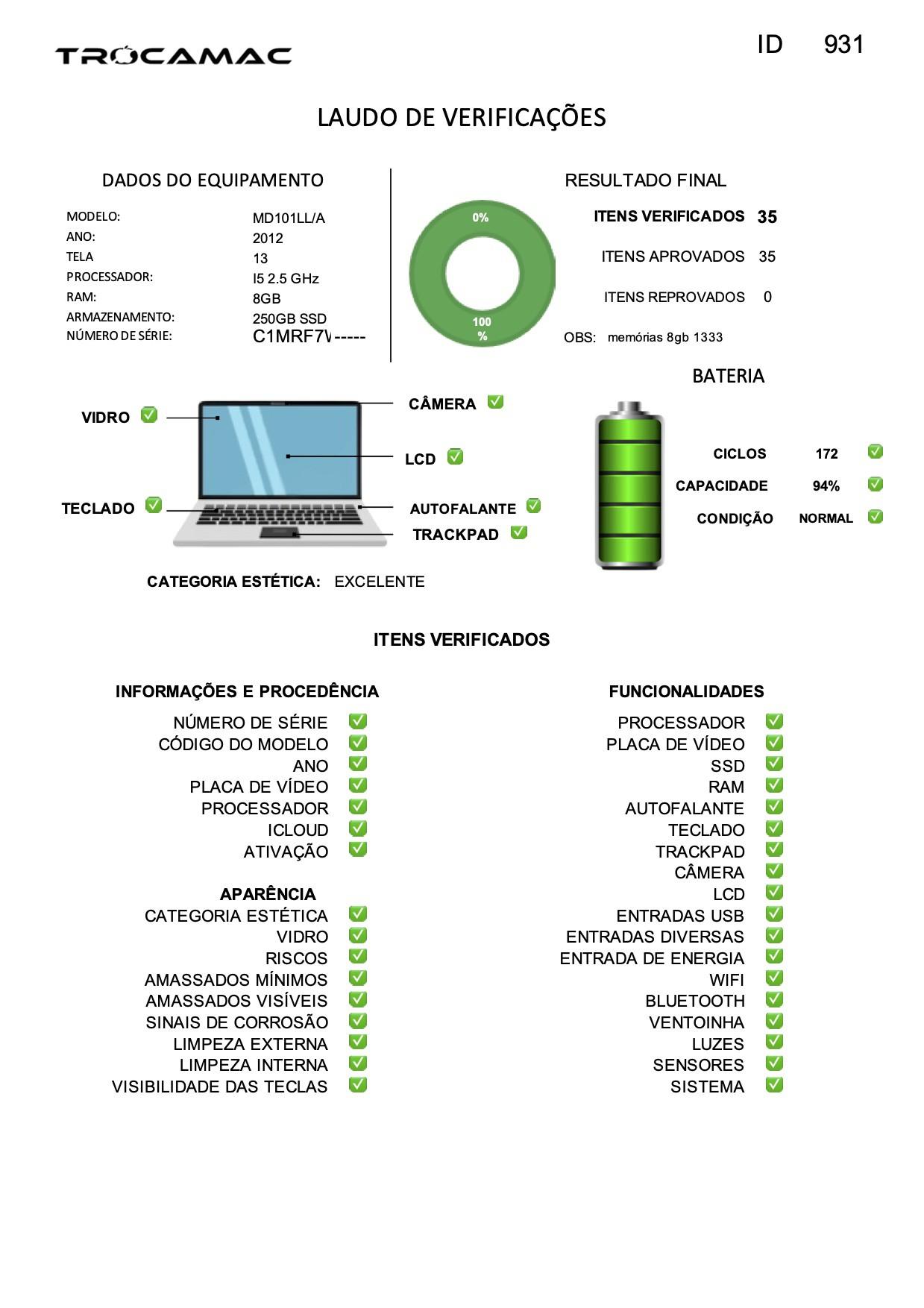 Macbook Pro 13 i5 2.5GHZ 8GB 256GB SSD MD101 Seminovo