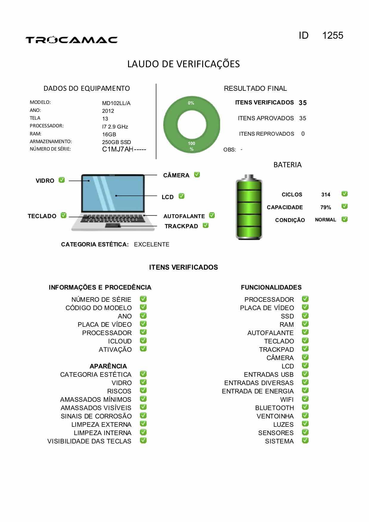 Macbook Pro 13 i7 2.9GHZ 16GB 256GB SSD MD102LL/A Seminovo