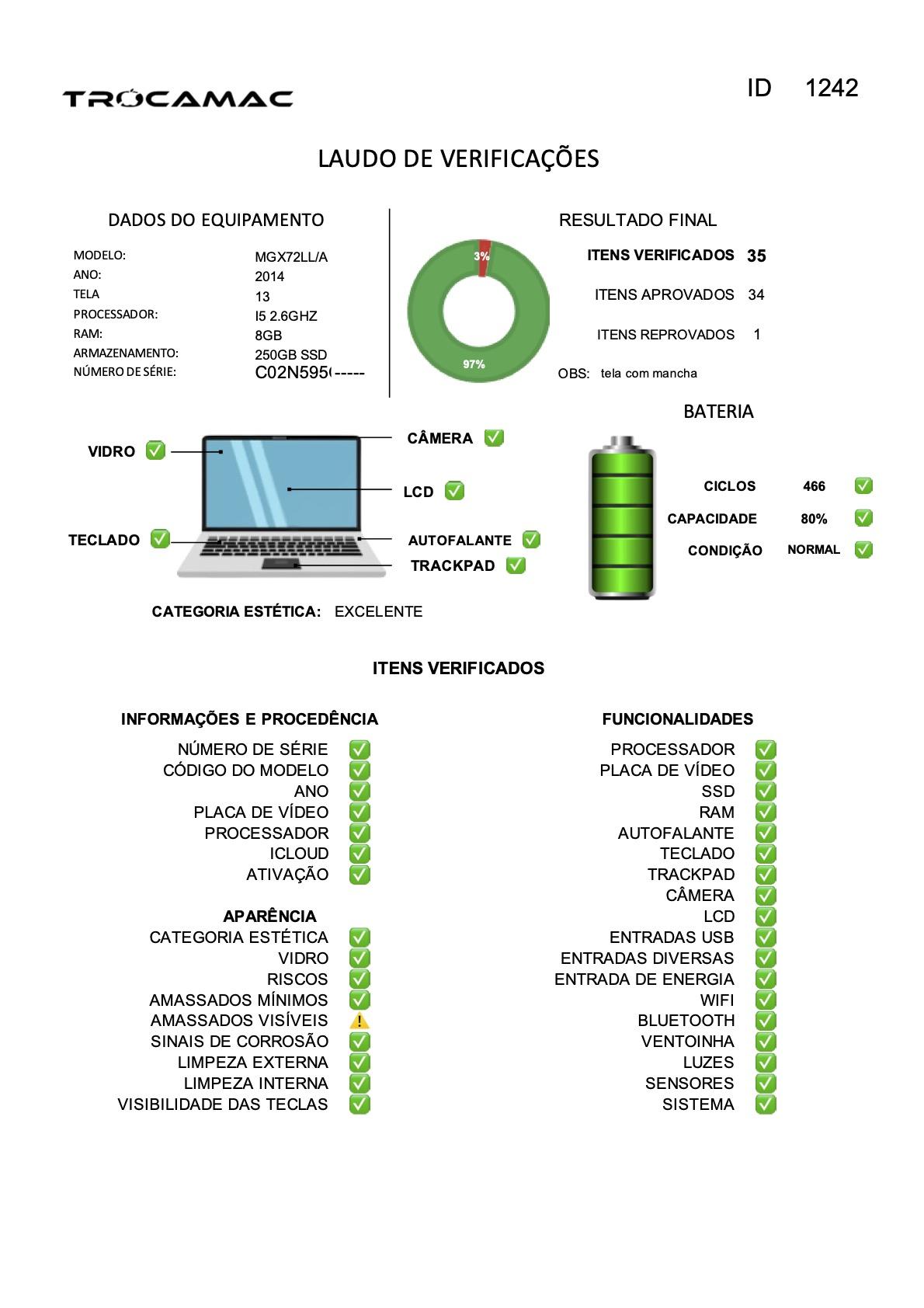 Macbook Pro Retina 13 i5 2.6Ghz 8GB 256GB SSD MGX72LL/A Seminovo