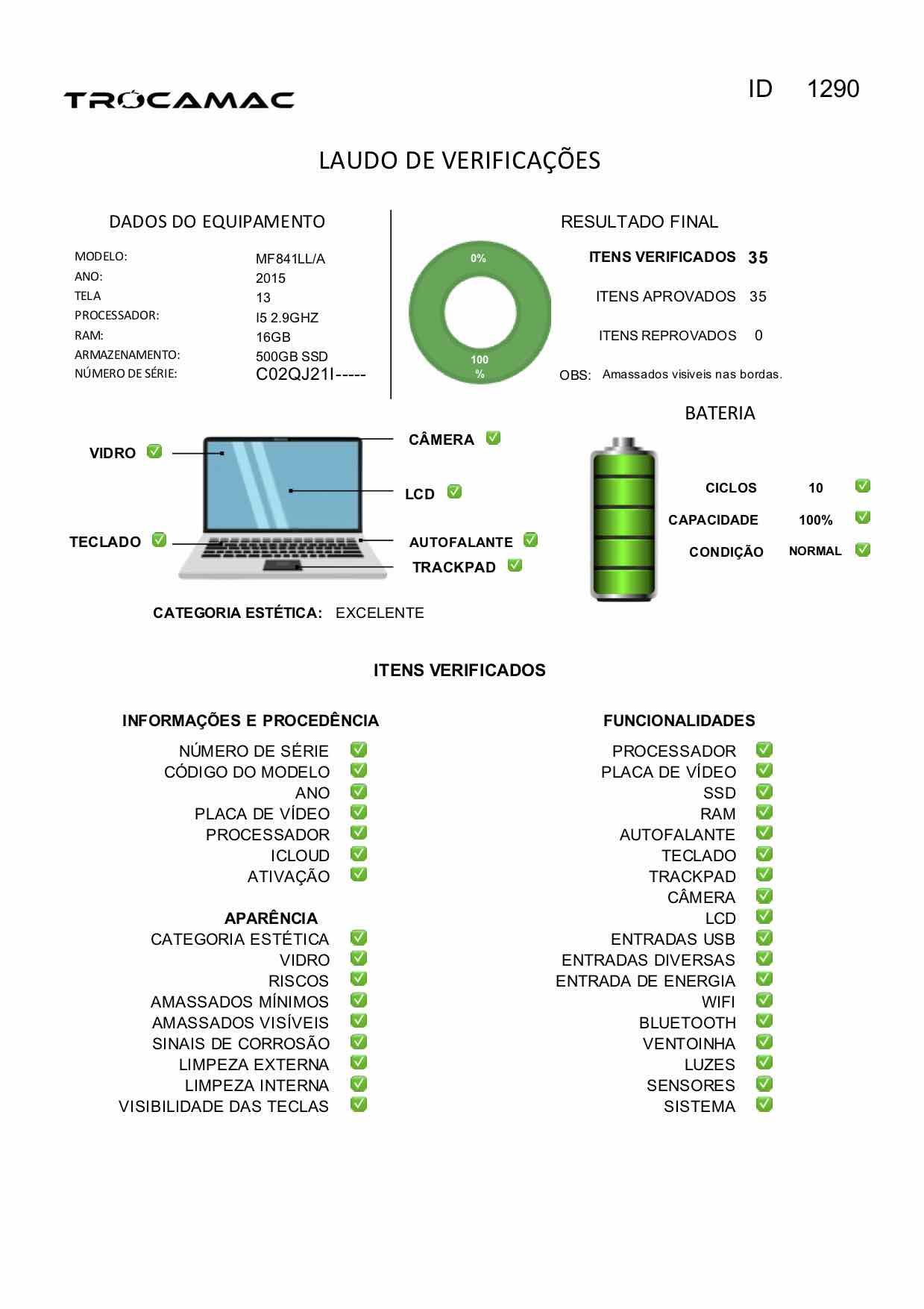Macbook Pro Retina 13 i5 2.9Ghz 16GB 512GB SSD MF841LLl/A Seminovo