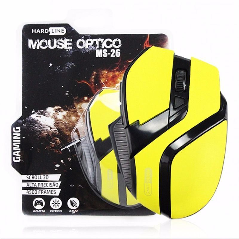 Mouse Optico Ms-26 Hard Line novo
