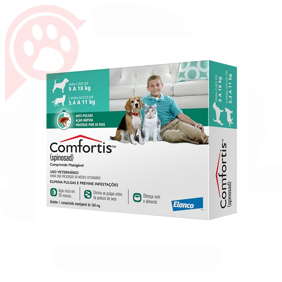 Antipulgas Comfortis Elanco para Cães de 9 a 18 kg  560MG Verde
