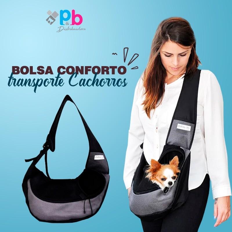 Bolsa Conforto Cinza para Cachorro Bichinho Chic - G