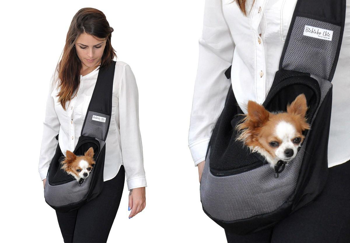 Bolsa Conforto Cinza para Cachorro Bichinho Chic - P