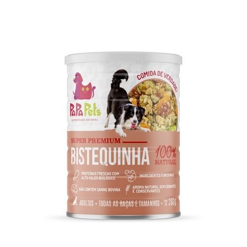 Caixa Ração Úmida Natural Cães PapaPets Bistequinha 12unid