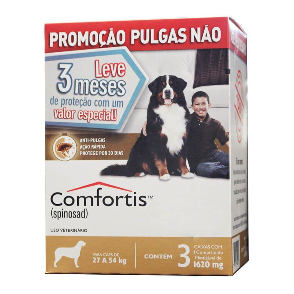 Combo 3 Antipulgas Comfortis Cães 27 a 54 Kg 1620mg Marrom