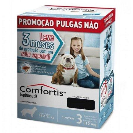 Combo 3 Antipulgas Comfortis Cães de 18 a 27 Kg 810mg Azul