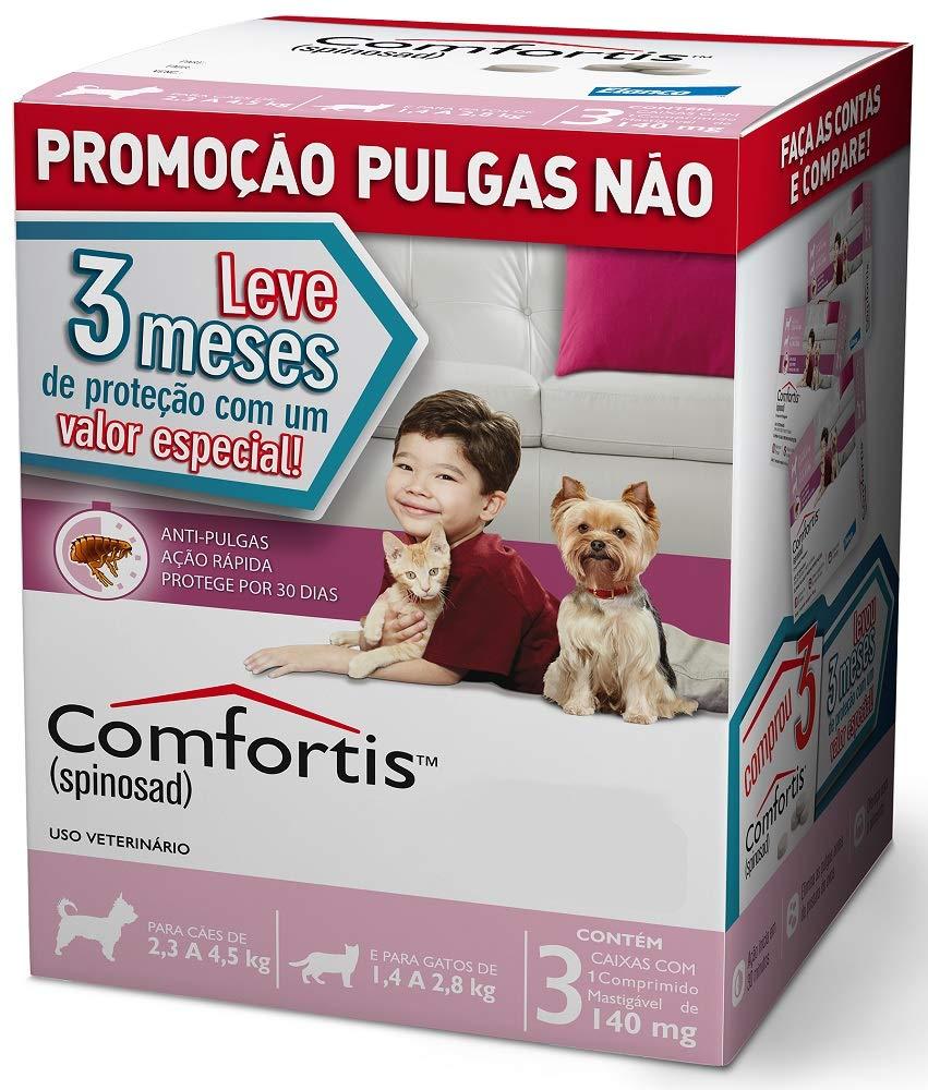 Combo 3 Antipulgas Comfortis Cães de 2.3 a 4.5 kg 140 mg Rosa
