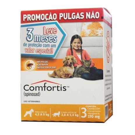 Combo 3 Antipulgas Comfortis Cães de 4.5 a 9 Kg 270mg Laranja