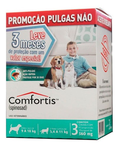 Combo 3 Antipulgas Comfortis Cães de 9 a 18 kg  560MG Verde