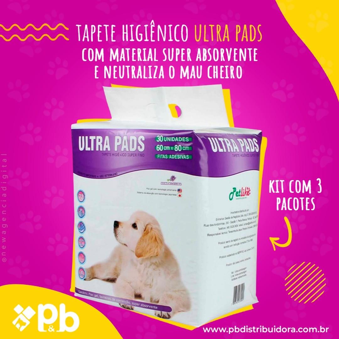 KIT 03 Pacotes Tapete Higiênico para Cães Ultra Pads 60X80 30UNID LAVANDA