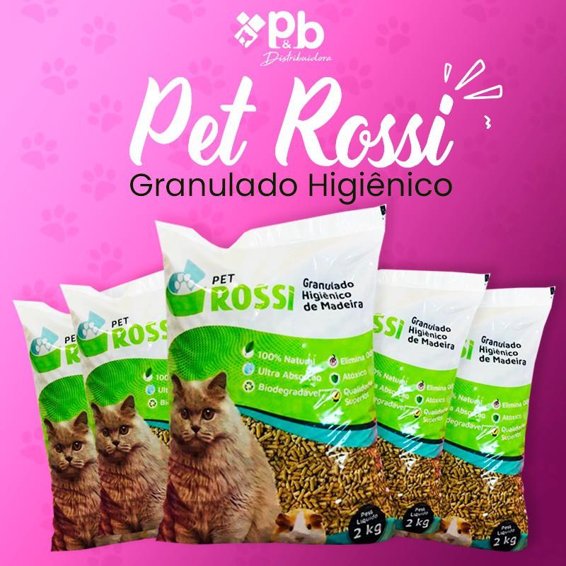 Kit 05 pacotes Pet Rossi granulado de madeira 2Kg Total 10Kg