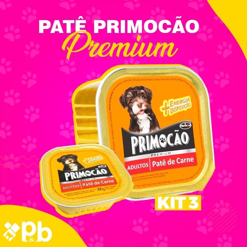 Kit com 03 Petisco Cão Úmido Primocao Adulto Patê carne 300g