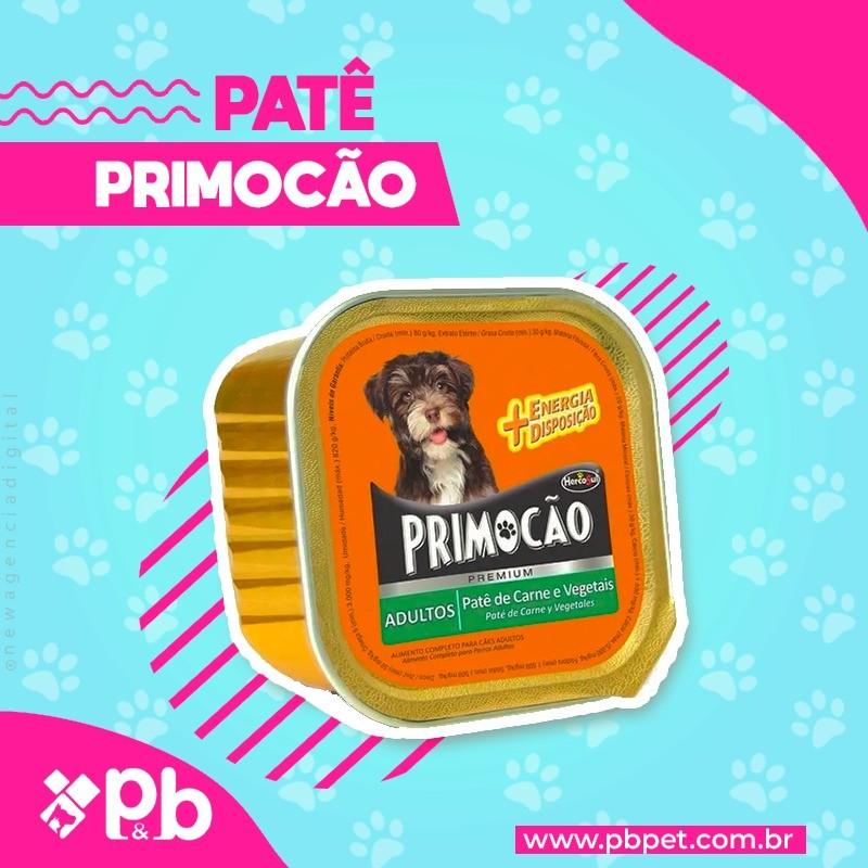 kit com 3 Petisco Cão Úmido Primocao Adulto Patê carne 300g