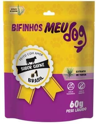 Kit com 6 unidades Petisco Bifinho Standard meu Dog 60g carne P&B