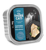 Patê Three Cats Castrados - Bolhas de pelos Sabor Peixe 90g