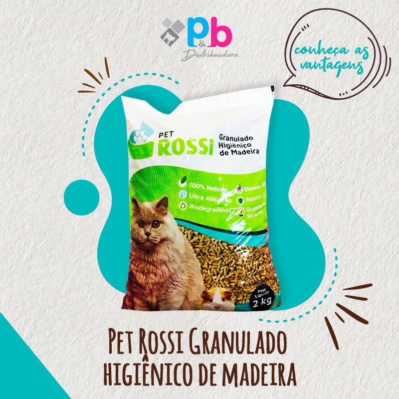 Pet Rossi granulado higiênico de madeira biodegradavel  2kg