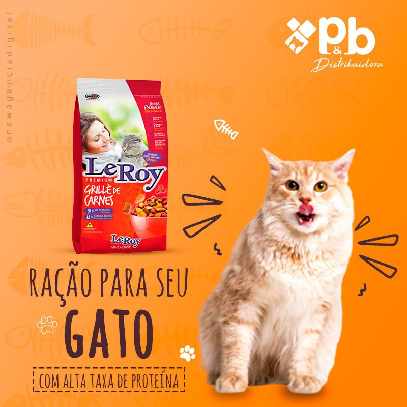 Racao Leroy Grillè de Carnes Gato Adulto 3 Kg P&B