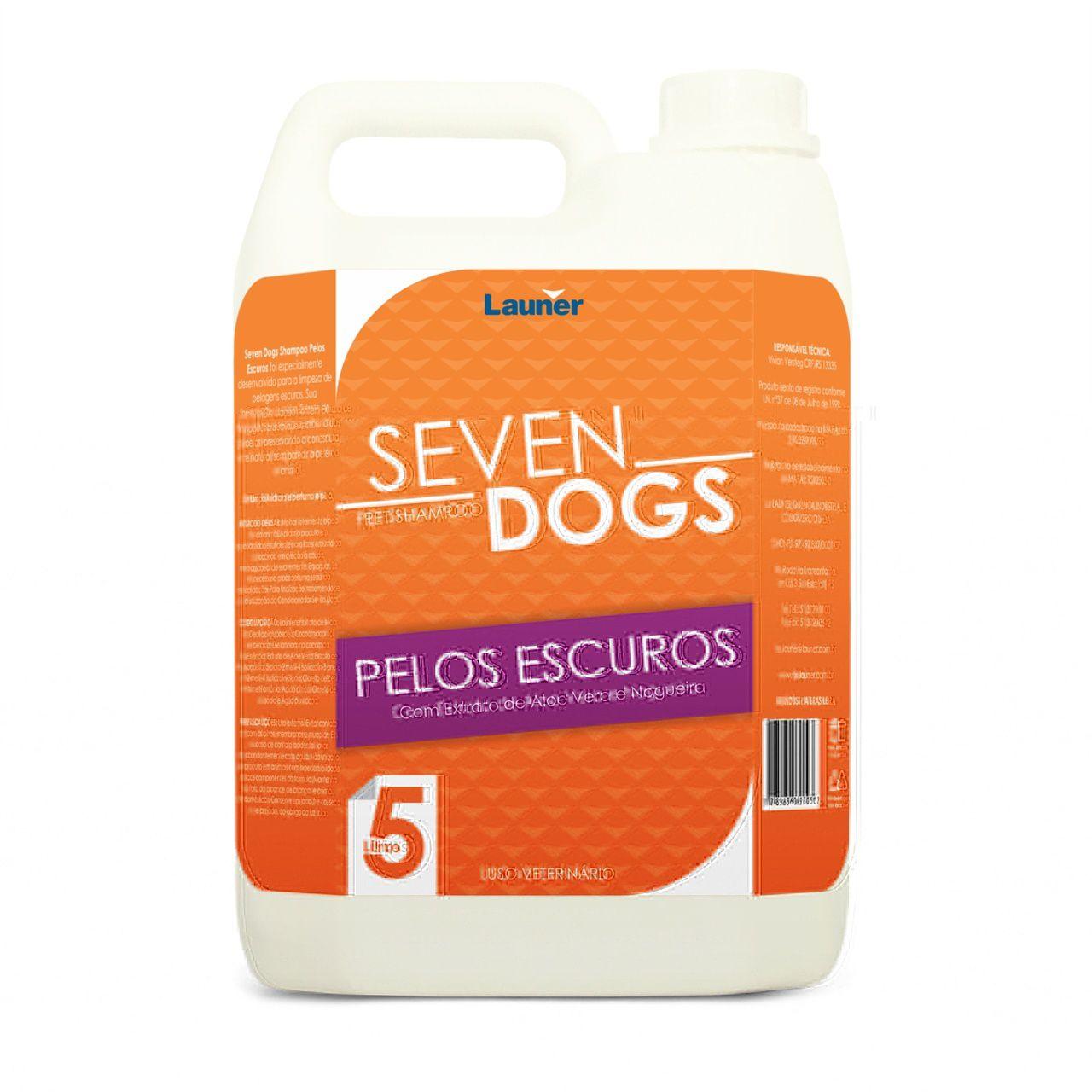 Shampoo para Cachorro Pelos Escuros Seven Dogs 5 Litros