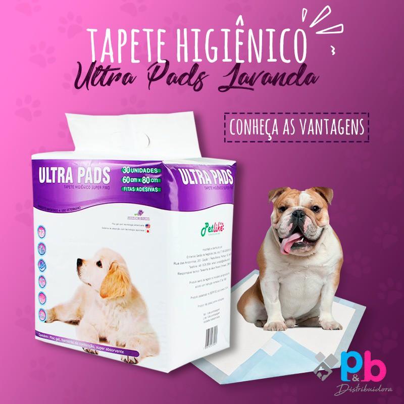 Tapete Higiênico para Cães Ultra Pads 60X80CM 30UNID AROMA LAVANDA P&B