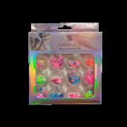 Glitter Encapsulado de Unhas Gel Acrigel Fibra Borboleta Colorida Sabrina Sato 12 Peças