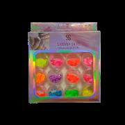 Glitter Encapsulado de Unhas Gel Acrigel Fibra Borboleta Sabrina Sato 12 Peças