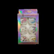 Glitter Encapsulado de Unhas Gel Acrigel Fibra Flocado com Flores Sabrina Sato 6 Peças