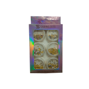 Glitter Encapsulado de Unhas Gel Acrigel Fibra Folha de Ouro Flocado  Sabrina Sato 6 Peças