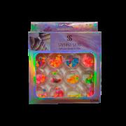 Glitter Encapsulado de Unhas Gel Acrigel Fibra Folhagem Sabrina Sato 12 Peças