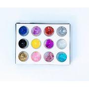 Glitter Para Unha Com 12 cores