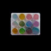 Kit com 12 Cores De Efeito Espelho Super Fino Nail Art Chrome Em Pó Decoração Holográfica